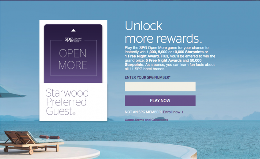 "Win Starwood Hotel Points and Nights in SPG's ""Open More"" Promo"