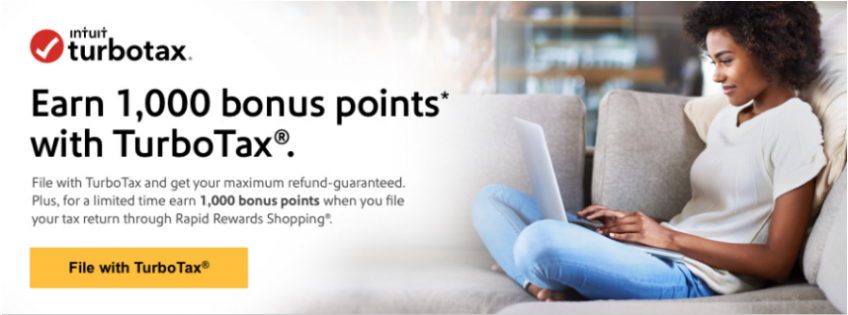 1,000 Southwest Rapid Rewards Points When You File Your Taxes with TurboTax