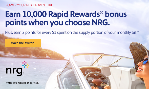 Earn at Least 10,000 Southwest Rapid Rewards Points When You Choose NRG as Your Electricity or Gas Supplier